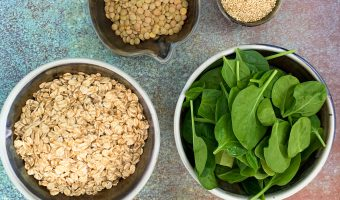 Nonheme Food Sources of Iron: oats, spinach, lentils, chia seeds