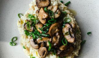 Instant Pot Vegan Mushroom Risotto on a plate