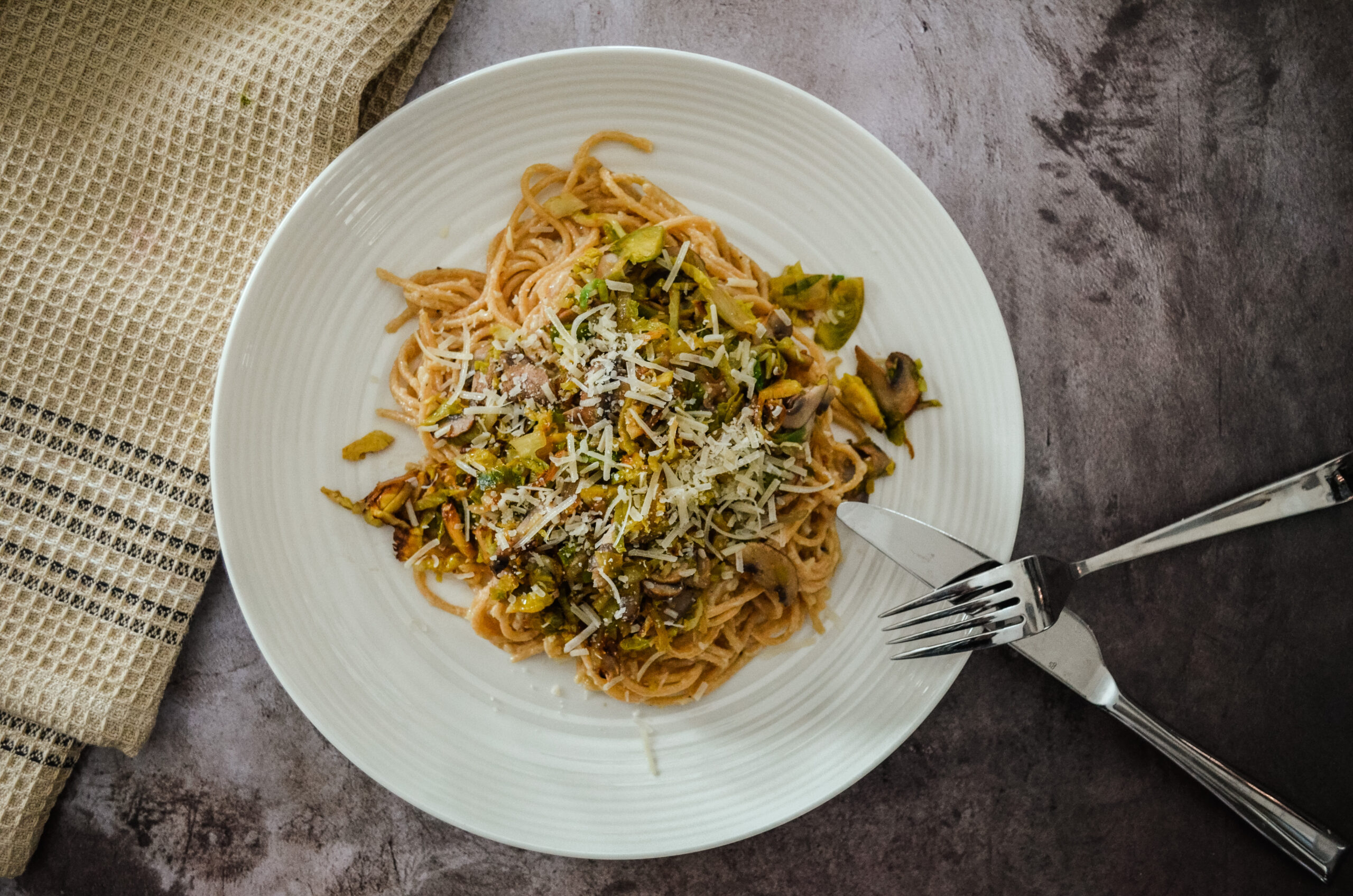 Mushroom and Brussels Sprouts Carbonara